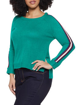 Plus Size Striped Sleeve Sweater - 3920074057438