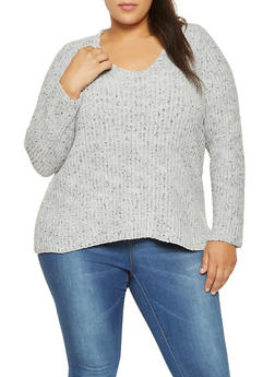 Plus Size Speckled Knit Sweater - 3920074541133