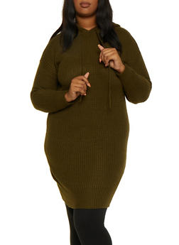 Plus Size Hooded Tunic Sweater - 3920075172091