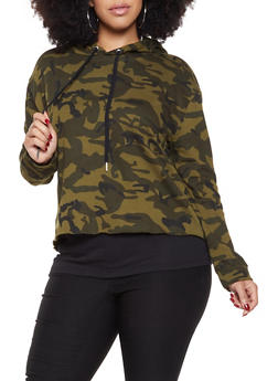 Plus Size Hooded Camo Sweatshirt - 3924054211366