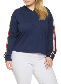 Plus Size Striped Tape Sweatshirt - 3924054214614