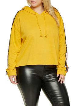 Plus Size Striped Tape Sweatshirt - 3924054214614