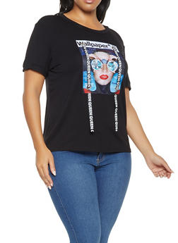 Plus Size Studded Graphic Ribbon Tee - 3924061350023