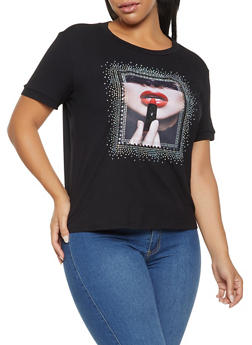 Plus Size Studded Graphic Tee - 3924061350025