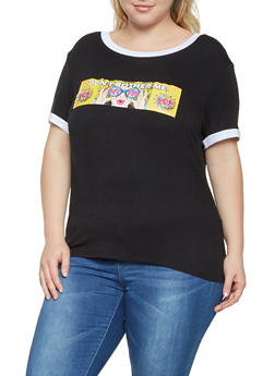 Plus Size Pop Art Graphic Tee - 3924061350161