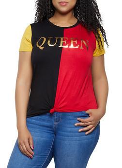 Plus Size Queen Color Block Tie Front Tee - 3924061350767