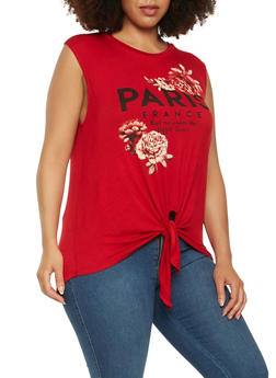 Plus Size Paris Graphic Tank Top - 3924061351290