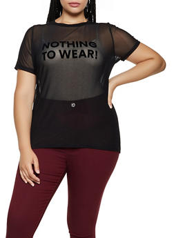 Plus Size Nothing to Wear Mesh Tee - 3924061352811