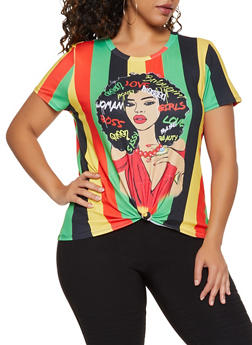 Plus Size Face Graphic Multi Color Stripe Tee - 3924061352978