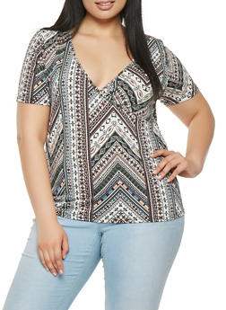 Plus Size Aztec Pattern Top - 3924061354100