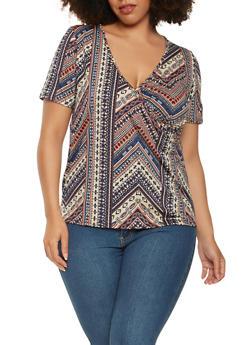 Plus Size Aztec Pattern Top - 3924061354100