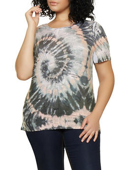 Plus Size Tie Dye Newspaper Print Tee - 3924061354949