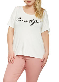 Plus Size Beautiful Graphic Tee - 3924061355577