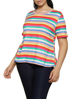 Plus Size Soft Knit Striped High Low Top - 3924061357068