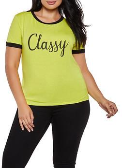 Plus Size Classy Graphic Ringer Tee - 3924061358080