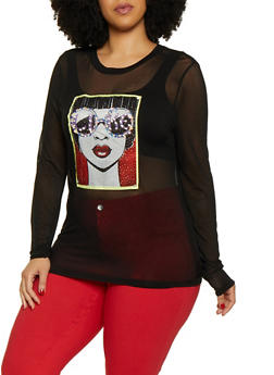 Plus Size Model Graphic Patch Mesh Top - 3924061358484
