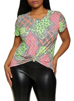 Plus Size Tie Front Paisley Tee - 3924061359789
