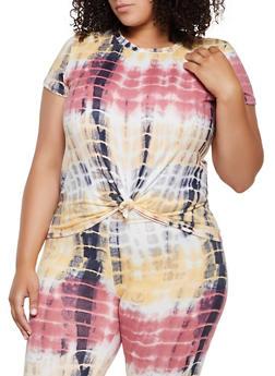 Plus Size Tie Dye Soft Knit T Shirt - 3924061359898