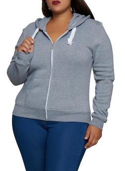 Plus Size Solid Front Zip Fleece Lined Sweatshirt - 3924062703056