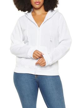 Plus Size Zip Up Hooded Sweatshirt - 3924062704036