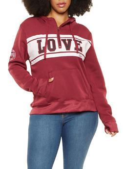 Plus Size Love Graphic Sweatshirt - 3924062704037