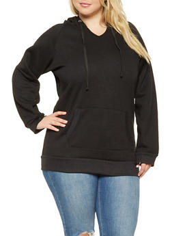 Plus Size Long Hooded Sweatshirt - 3924062704038