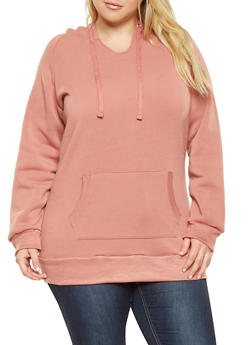 Plus Size Long Hooded Sweatshirt - 3924062704038