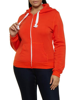Plus Size Solid Zip Front Hoodie - 3924062705056
