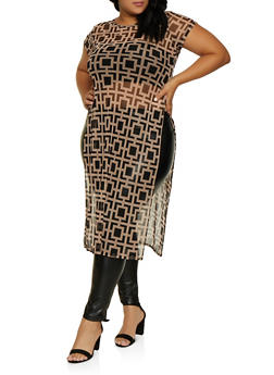 Plus Size Geometric Mesh Maxi Top - 3924063402977