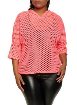 Plus Size Hooded Crochet Top - 3924063403777