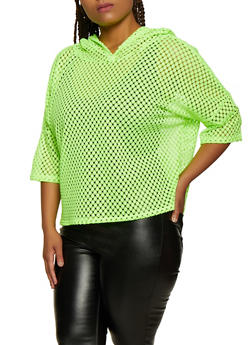 Plus Size Hooded Crochet Top - 3924063403777