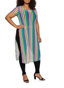 Plus Size Striped Mesh Maxi Top - 3924063407792