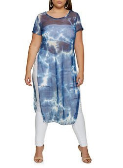 Plus Size Tie Dye Maxi Top - 3924063409397