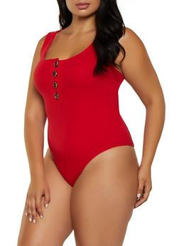Plus Size Half Button Rib Knit Bodysuit - 3924066494908
