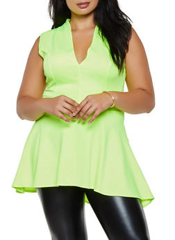 Plus Size Scuba Peplum Top - 3924068515232