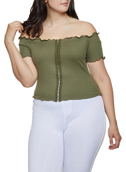 Plus Size Off the Shoulder Rib Knit Top | 3924069390022 - 3924069390022