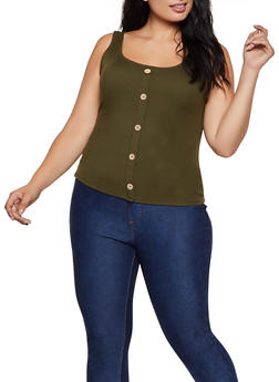 Plus Size Button Ribbed Tank Top - 3924069390066