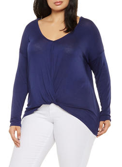 Plus Size Twist Front Top - 3924069390116