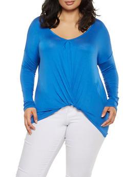 Plus Size Twist Front Top - 3924069390116