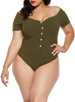 Plus Size Ribbed Off the Shoulder Bodysuit - 3924069390121