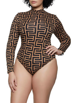 Plus Size Geometric Print Mock Neck Bodysuit - 3924069390219