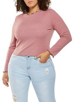 Plus Size Ribbed Knit Lettuce Trim Top - 3924069390230