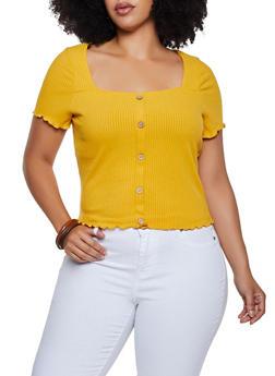 Plus Size Rib Knit Button Detail Top - 3924069390254