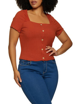 Plus Size Rib Knit Button Detail Top - 3924069390254