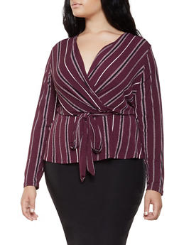 Plus Size Striped Faux Wrap Top - 3924069390263