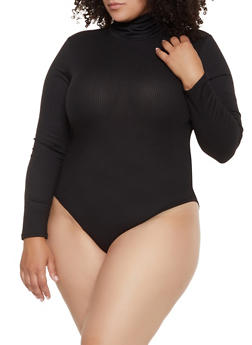 Plus Size Ribbed Turtleneck Bodysuit - 3924069390292