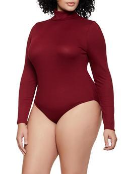 Plus Size Ribbed Turtleneck Bodysuit - 3924069390292