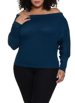 Plus Size Ribbed Dolman Sleeve Off the Shoulder Top - 3924069390311