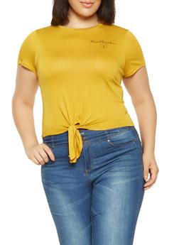 Plus Size Heartbreaker Graphic Tie Front Tee - 3924069390319