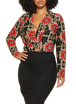 Plus Size Printed Faux Wrap Bodysuit - 3924069390323